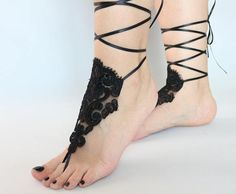 Black Lace Beach wedding Barefoot Sandals Lace Sandals Lace Barefoot Sandals, Bridal Lace Shoes Foot Belly Dance, bridesmaid gifts anklet