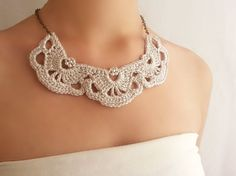 Collar Novia Perlas  Collar Lace Plata  Collar Victoriano