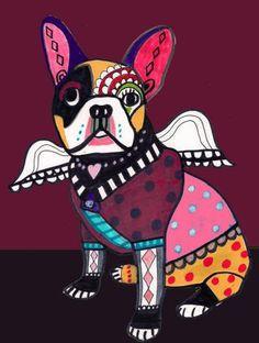 French Bulldog Art  Frenchie Print Poster of by HeatherGallerArt, $24.00
