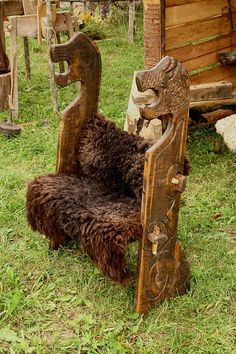 Wooden bench of viking. Festival of experimental archaelogy. Kernave. Lithuania by Gatis /Latvia/, via Flickr