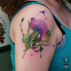 Watercolor Thistle Tattoo by color_impact