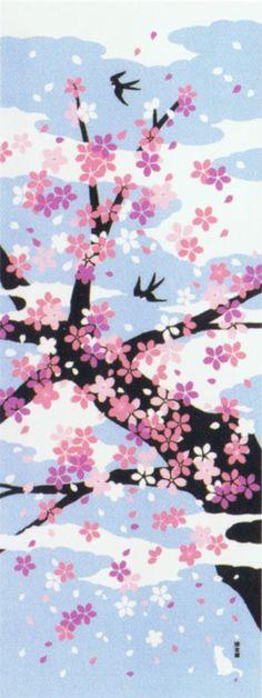 Japanese washcloth, Tenugui 絵てぬぐい 春 花吹雪.jpg