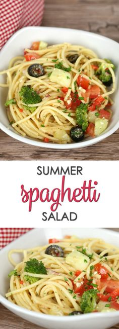 Summer Spaghetti Salad recipe - This easy side dish is full of veggies and flavor. It's one of my go-to cookout recipes and gets devoured in minutes.