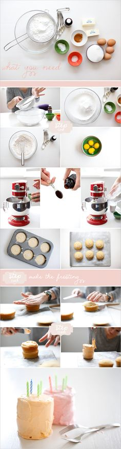 How to make miniature cakes using muffin tins: http://www.weddingchicks.com/2012/03/19/how-to-make-mini-cakes/