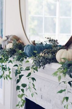 2018 Fall Decorating Ideas - Home Bunch Interior Design Ideas decor blue diy 2018 Fall Decorating Ideas Blue Fall Decor, Modern Fall Decor, Fall Mantle Decor, Fall Home Decor, Autumn Home, Elegant Fall Decor, Fall Mantels, Fall Diy, Thanksgiving Decorations