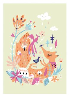 Fox Playing with birds limited print  30x40cm by mllesarah on Etsy, $35.00