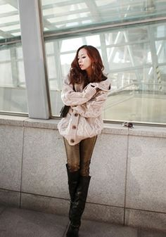 Light Brown Sweater Coat - Button Closure At Front
