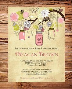 Vintage Baby Shower Invitation, Vintage Mason Jars Baby Shower Invitation, Girl, Vintage Baby Shower Invite, Brown, Pink. $18.00, via Etsy.