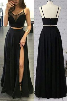 Sexy Two Piece Prom Dress A-line Black Chiffon High Split Long 2 Pieces Prom Dresses Prom Gown Party Dress Sexy Two Piece Evening Dress A-line Black Chiffon High Split Long Evening Dresses Evening Dress Party Dress Prom Dresses Two Piece, Black Prom Dresses, A Line Prom Dresses, Grad Dresses, Pretty Dresses, Homecoming Dresses, Sexy Dresses, Fashion Dresses, Formal Dresses