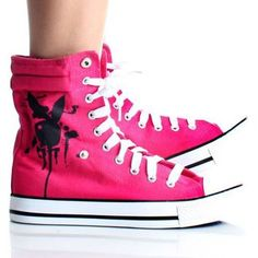 Playboy Bunny Womens High Top Sneakers Skate Shoes Pink Lace up Boots ecef624ae