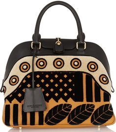 Burberry Prorsum Velvet Appliqued Leather Tote Cuir, Burberry Prorsum,  Gilets, Pulls, Robes 2ec60a4792b