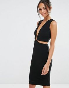 Missguided Ring Detail Cut Out Bodycon Dress
