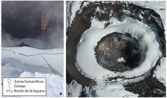 Informe Especial Cotopaxi No. 4  Figura 5. a.Imagen de la laguna verde que se ha formado en el cráter del Cotopaxi, zonas fumarólicas y nuevas grietas (recuperada de las redes sociales). b. Foto del cráter del Cotopaxi en Enero 2003 (Patricio Ramón). Nótese que las zonas fumarólicas no son características nuevas.