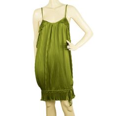 This sexy and very impressive green dress by Richmond features small pleats, spaghetti straps, cut sides, slightly bubble hemline and simply slips on. Richmond Green, Green Dress, Hemline, Slip On, Club, Mini, Sexy, Fabric, Dresses