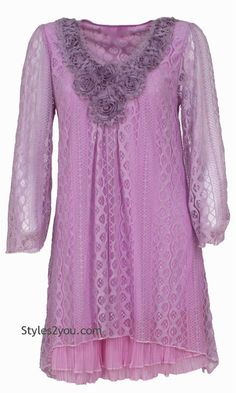 Pretty Angel Clothing Victorian Claire Lace Tunic In Lavender S M L XL 16528LV