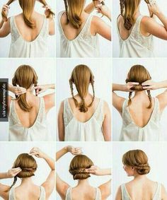 So simple and easy but still looks beautiful.just 2 braids and a bun