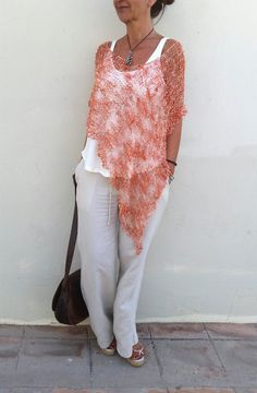 Summer wrap Orange summer poncho knit shawl orange by EstherTg