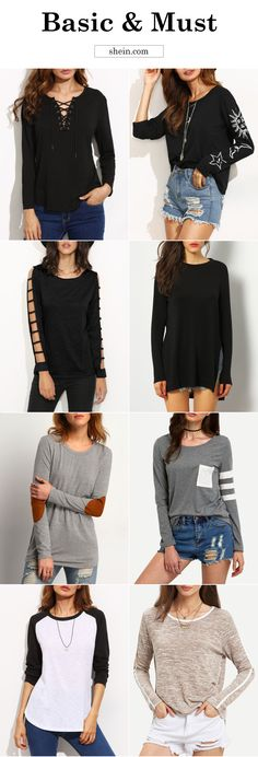 Basic tshirt and must-have shirt for fall! Women casual long sleeve tshirt for autumn. Love simple casual style!
