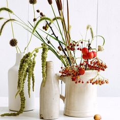 Milk Jugs with Fall Elements