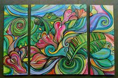 """Tropic Noon     Commissioned Triptych with Anthuriums and Tropical Flora  24""""x30"""" plus 2 (10""""x30"""" )  Acrylic on Canvas by Colleen Wilcox"""