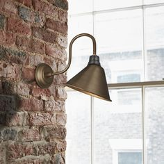 The Brass Swan Neck Cone Wall Light is designed to showcase the warmth of Edison-style filament bulbs. Industrial Style Lighting, Retro Lighting, Wall Spotlights, Semi Flush Lighting, Ceiling Rose, Crackle Glass, Metallic Colors, Light Fittings, Fabric Shades