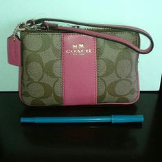 Coach wristlet pink/brown Super fabulous Coach single zipper wristlet that has two card slots inside. Made with pvc material that is very durable. Small bag is nice for a night out. NWT comes with Coach gift box Coach Bags Clutches & Wristlets