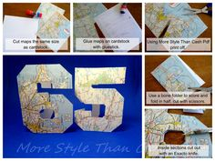 Using free pdfs from MoreStyleThanCash.com print off number birthday cards on map paper!