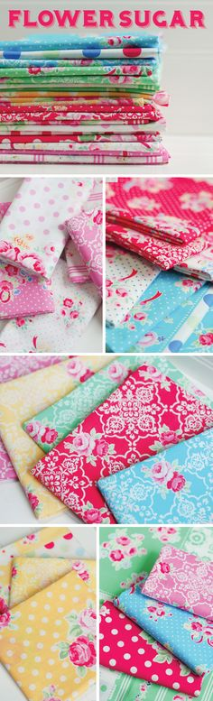 Flower Sugar - Lecien Fabrics Bold blues, pretty pinks, and soft grays compose the Flower Sugar collection.