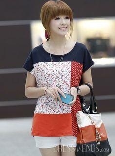 Smart Korean Style Short Sleeves Fresh T-shirt
