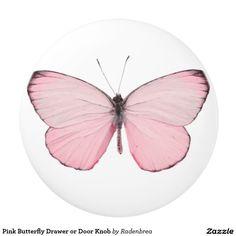 Pink Butterfly Drawer or Door Knob Ceramic Knob #homedecor #butterfly #drawerknob