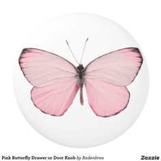 Pink Butterfly Drawer or Door Knob Ceramic Knob #homedecor #butterfly #drawerknob