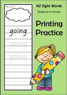Printing Practice for 233 words from the Magenta to Orange level of the NZ colour wheel.Use them as an activity sheet that your students write on, or laminate them for a write and wipe activity.Format:   Magenta - 4 lines of tracing  Magenta  2 lines of tracing and 2 lines of writing  Red  2 lines of tracing and 2 lines of writing  Yellow  2 lines of tracing and 2 lines of writing  Blue  2 lines of tracing and 2 lines of writing  Green  1 line of tracing and 3 lines of writing  Orange  1…