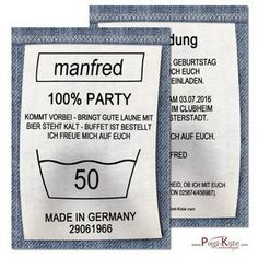 "Einladungskarten Geburtstag ""Waschanleitung"" This funny birthday invitation card is opened as a washing instruction / laundry label of a pair of jeans and will be printed with your personal details. To make these invitations Birthday invitations … Funny Birthday Invitations, Fun Wedding Invitations, Diy Invitations, Happy Birthday Cards, Birthday Greeting Cards, Diy Birthday, Birthday Greetings, Invitation Cards, Funny Anniversary Cards"