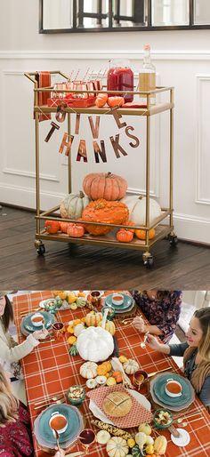 Give Thanks: Fall Party, Bar Cart, & more! Diy Bar Cart, Gold Bar Cart, Bar Cart Styling, Bar Cart Decor, Bar Carts, Bagel Bar, Nacho Bar, Bar Refrigerator, Home Bar Areas