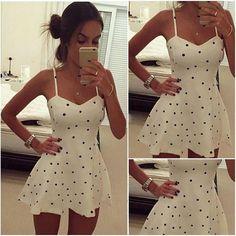 y Women Summer Beach Sleeveless Casual Vintage Pinup Rockabilly Polka Dot dress Bodycon Casual Party Evening Short/Mini Dress Alternative Measures