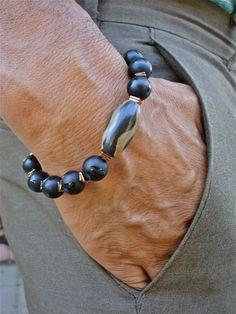Men's Spiritual Protection, Good Fortune, Luck, Bracelet with Semi Precious Black Onyx, Bronze Hematites, a Turkana Bone Bead - Bohemian Man by tocijewelry on Etsy