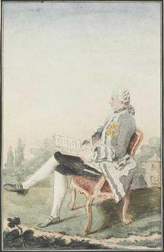 Portrait du comte Michel Oginsky, d'origine polonaise, assis de profil, dans un fauteuil, tenant une partition et l'ordre du Saint-Esprit, dans un parc, 1759 Louis Carrogis dit Carmontelle