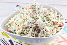 Nothing says summer like a bowl of fresh coleslaw. Shake things up with this horseradish dill coleslaw variety - crunchy, tangy, zesty, and delicious. Coslaw Recipes, Food Network Recipes, Salad Recipes, Cooking Recipes, Horseradish Coleslaw Recipe, Horseradish Recipes, Cooking Tv, Cheesecake Factory Recipes, Homemade Coleslaw