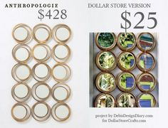 Anthropologie Inspired Circles Mirror - Dollar Store Craft Tutorial for just 25 bucks!