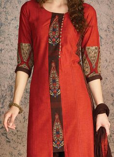 Rust Blended Cotton Churidar Suit