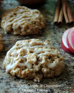 Fall Inspired Chewy Apple & Cinnamon Oatmeal Cookies for Dessert