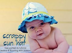 Living with Punks: SYS ~ Scrappy Sun Hat tutorial Sewing Patterns Free, Baby Patterns, Sewing Tutorials, Free Pattern, Free Sewing, Sewing Ideas, Bonnet Pattern, Clothes Patterns, Baby Sewing Projects