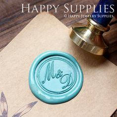 1pcs Custom Initial Gold Plated Wax Seal by HappyJewelrySupplies, $14.50