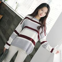 Stylementor - Drop-Shoulder Stripe Knit Top