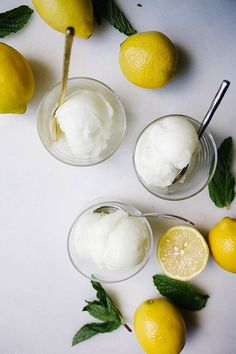 This lemon mint sorbet is a smooth and silky frozen treat that is simple to make and is incredibly refreshing. Requires an ice cream machine. Frozen Desserts, Frozen Treats, Spaghetti Eis Dessert, Lemon Health Benefits, Lemon Uses, Lemon Sorbet, Sorbets, Ice Cream Maker, Homemade Ice Cream
