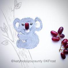 In Australia it's Friday night already ... Bring it on!! #happyfriday #doodle #instadaily #cartoon #sketch #doodle #pencil #cute #love #koala #grape #nature #animal #instagood #instapic #instalike #bybob