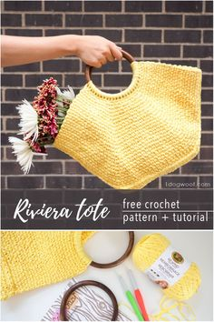 Make yourself a beautiful Riviera Tote this free crochet pattern .Tutorial includes pattern and step-by-step photos.Free crochet pattern and photo tutorial for the Riviera Tote, a uniquely shaped bag that uses the waistcoat stitch to give it a woven feel. Crochet Market Bag, Crochet Tote, Crochet Handbags, Crochet Purses, Crochet Yarn, Free Crochet, Crochet Summer, Crochet Flowers, Crochet Shell Stitch