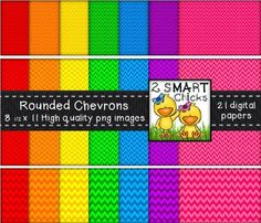 Beautify your products with our rounded chevron background paper bundle! 21 colourful and vibrant PNG file backgrounds are included in this set! Once purchased, backgrounds can be used for personal or commercial purposes. Kindly remember to include a link back to our TPT store: http://www.teacherspayteachers.com/Store/2-Smart-ChicksHappy creating!To preview the quality of our work, you can download our Rainbow Rounded Chevron Background Paper Bundle FREEBIE!Thank you for purchasing our…