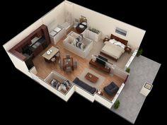 25 One Bedroom House/Apartment Plans  10) wood-floor-one-bedroom