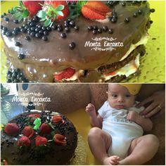 BOLO BOMBOM GELADO Para encantar o mesversário de 3 meses do seu filho Benício, a Natália Posses montou um bolo que mais parece um grande Bombom Gelado Massa amanteigada, recheio de creme belga e cobertura de calda de brigadeiro com morangos fatiados e bolinhas crisps de chocolate belga para decorar! hum ... que delicia! Como fazer? só clicar aqui no link ao lado: http://www.montaencanta.com.br/bolo-de-festa-2/bolo-bombom-gelado/